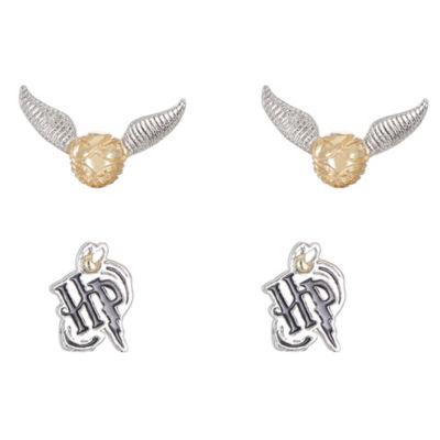 Warner Bros Brass Harry Potter 2 Pair Jewelry Set