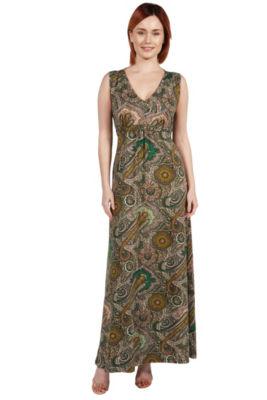 24Seven Comfort Apparel Zooey Empire Waist Maxi Dress