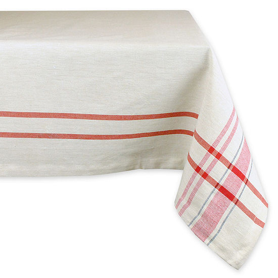 Design Imports Red French Stripe Tablecloth