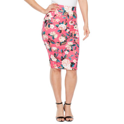 Bold Elements Floral Scuba Pencil Skirt