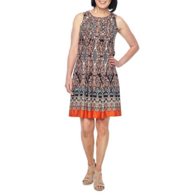 Perceptions Sleeveless Puff Print Shift Dress