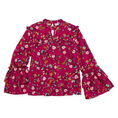 Arizona High Bell Sleeve Ruffled Floral Blouse - Girls' 4-16 & Plus