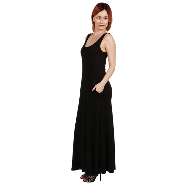 24Seven Comfort Apparel Marion Sleeveless Tank Maxi Dress