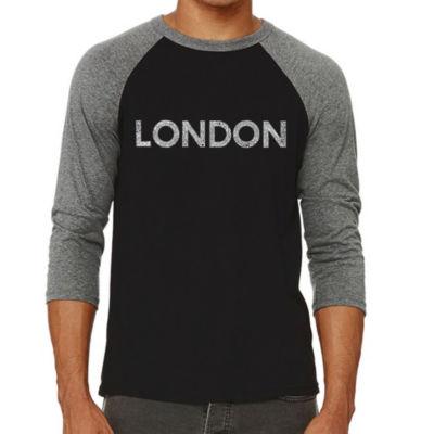 Los Angeles Pop Art Men's Big & Tall Raglan Baseball Word Art T-shirt - LONDON NEIGHBORHOODS