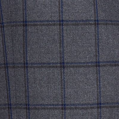 Shaquille O'Neal XLG Grey Blue Windowpane Sport Coat - Big and Tall
