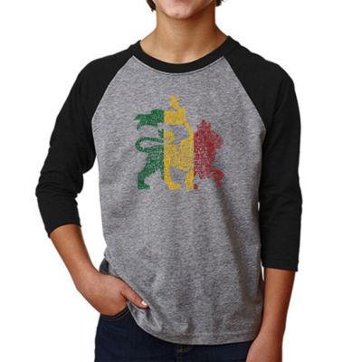 Los Angeles Pop Art Boy's Raglan Baseball Word Art T-shirt - Rasta Lion - One Love