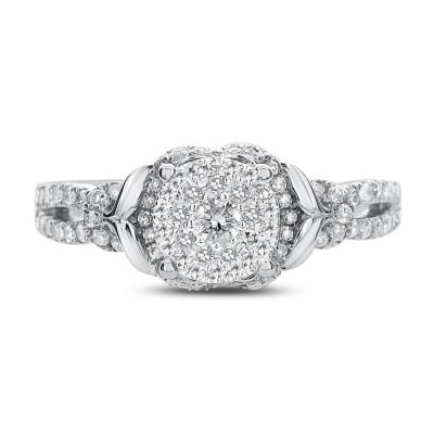 Womens 1/2 CT. T.W. Genuine White Diamond 14K White Gold Engagement Ring