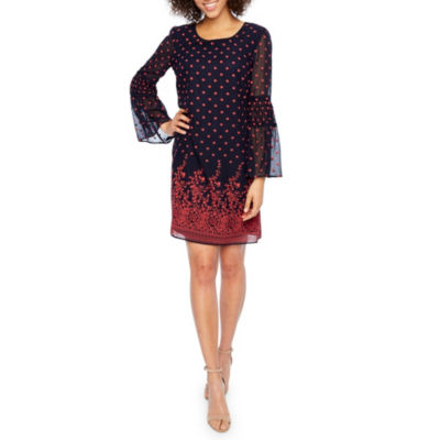 Robbie Bee Long Sleeve Bordered Shift Dress