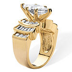 Womens 3 3/4 CT. T.W. White Cubic Zirconia 14K Gold Over Brass Engagement Ring