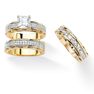Womens 3 CT. T.W. White Cubic Zirconia Gold Over Brass Bridal Set