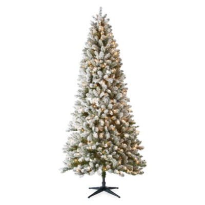 North Pole Trading Co. 9 Foot Tacoma Flocked Christmas Tree