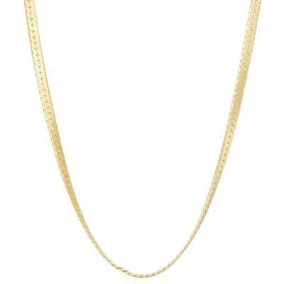 14K Gold Over Silver Solid Herringbone Chain Necklace