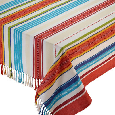 Design Imports Baja Stripe Fringed Tablecloth