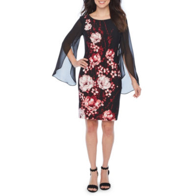 Connected Apparel Long Sheer Split Sleeve Floral Sheath Dress