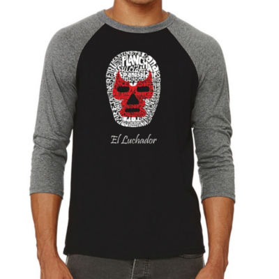 Los Angeles Pop Art Men's Big & Tall Raglan Baseball Word Art T-shirt - MEXICAN WRESTLING MASK