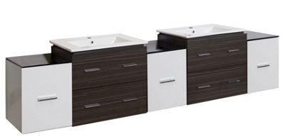 90-in. W Wall Mount White-Dawn Grey Vanity Set For1 Hole Drilling