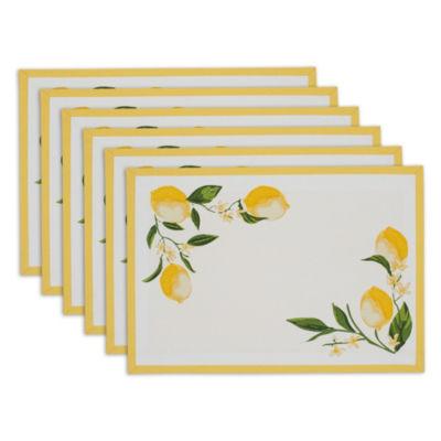 Design Imports Lemon Bliss Printed Placemat Set of 6