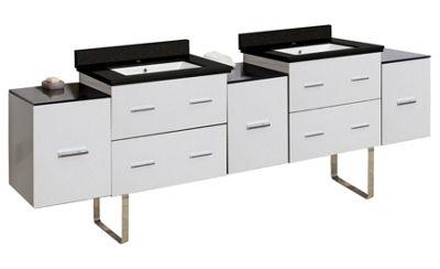 88.5-in. W Floor Mount White Vanity Set For 1 HoleDrilling Black Galaxy Top White UM Sink