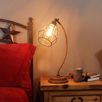 Decor Therapy Antique Rust Caged Desk Lamp