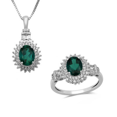 2 pc. Simulated Emerald & Lab-Created White Sapphire Sterling Silver Jewelry Set