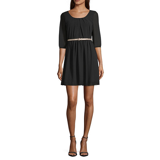by&by-Juniors Short Sleeve Fit & Flare Dress