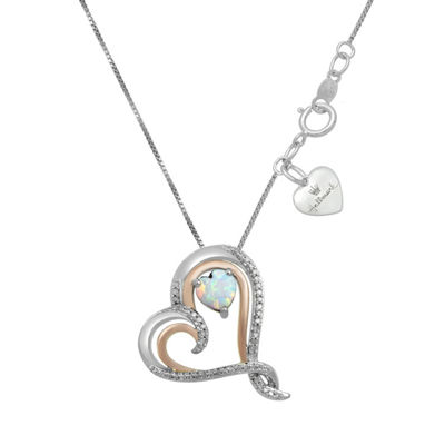 Hallmark Diamonds Womens Lab Created White Opal 14K Rose Gold Over Silver Heart Pendant Necklace