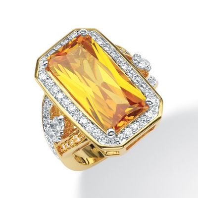 Womens Yellow Cubic Zirconia 14K Gold Over Brass Cocktail Ring