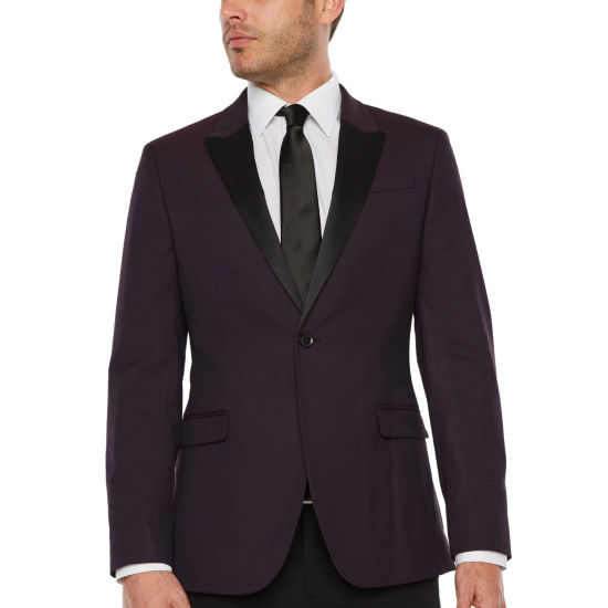 JF J.Ferrar Formal Stretch Burgundy Geo Slim Fit Sport Coat