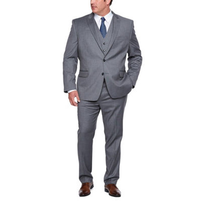 Shaquille O'Neal Gray Texture Stretch Suit Big and Tall