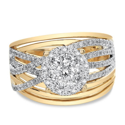 Womens 1 CT. T.W. Genuine White Diamond 14K Two Tone Gold Engagement Ring