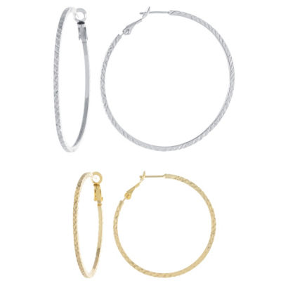 2 Pair 14K Gold Over Silver & Sterling Silver Hoop Earring Set