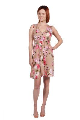 24Seven Comfort Apparel Lauren Brown and Pink Floral Empire Waist Dress