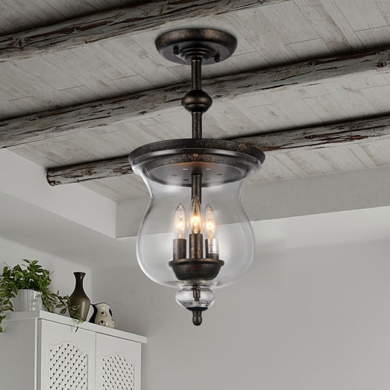 Warehouse Of Tiffany Madigan 3-light Clear Glass 10-inch Antique Pendant Lamp