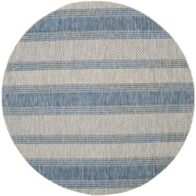 Safavieh Courtyard Collection Jessy Stripe Indoor/Outdoor Round Area Rug