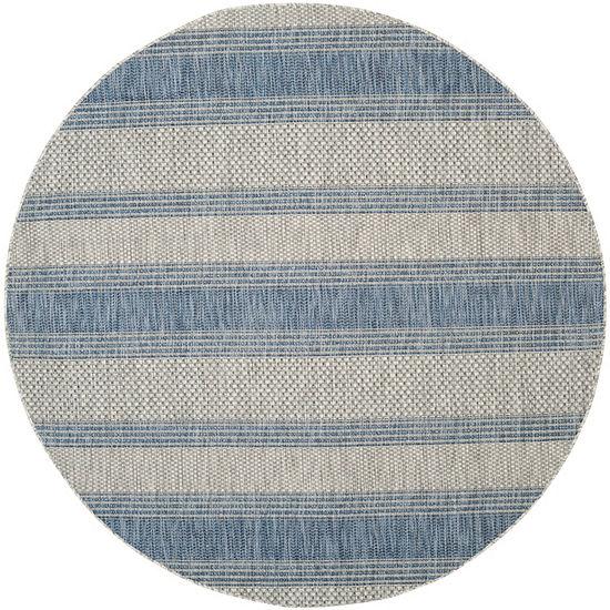 Safavieh Courtyard Collection Jessy Stripe Indoor/Outdoor Round Area Rug