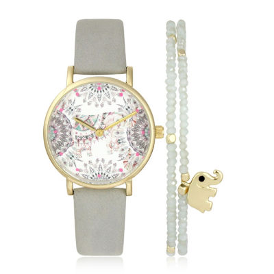 Mixit Womens Gray 2-pc. Watch Boxed Set-Pt5957gd
