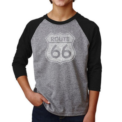 Los Angeles Pop Art Boy's Raglan Baseball Word Art T-shirt - CITIES ALONG THE LEGENDARY ROUTE 66