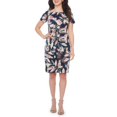London Times Short Sleeve Floral Sheath Dress