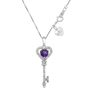 Hallmark Diamonds Womens Genuine Purple Amethyst Sterling Silver Keys Pendant Necklace