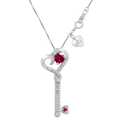 Hallmark Diamonds Womens Lab Created Red Ruby Sterling Silver Heart Pendant Necklace