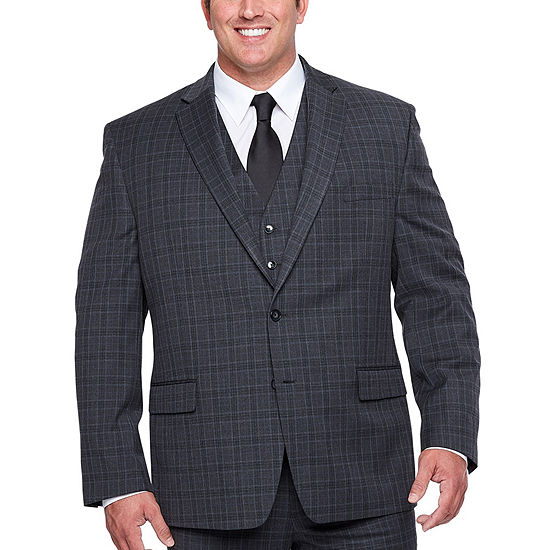 04753d7c19e Shaquille O Neal XLG Gray Plaid Stretch Suit Jacket - Big and Tall -  JCPenney