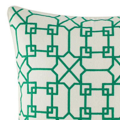 Nine Palms Embroidered Geo Square Throw Pillow