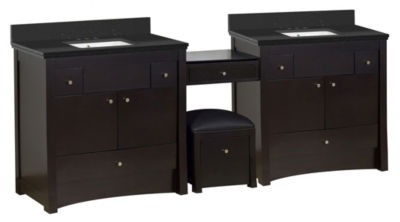 93.25-in. W Floor Mount Distressed Antique WalnutVanity Set For 3H4-in. Drilling Black Galaxy Top White UM Sink