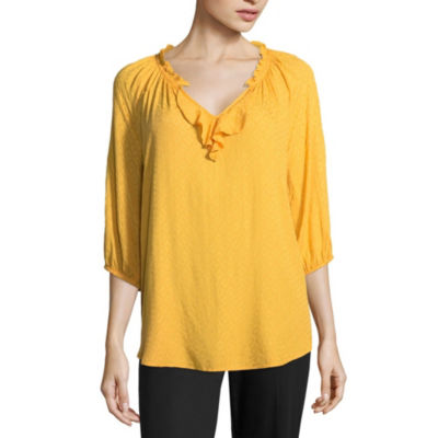 a.n.a Ana Ruffle Nk Peasant Top Womens V Neck 3/4 Sleeve Peasant Top