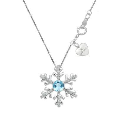 Hallmark Diamonds Womens Genuine Blue Blue Topaz Sterling Silver Snowflake Pendant Necklace