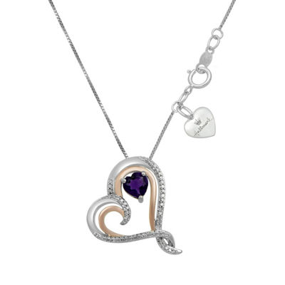 Hallmark Diamonds Womens Genuine Purple Amethyst 14K Rose Gold Over Silver Heart Pendant Necklace