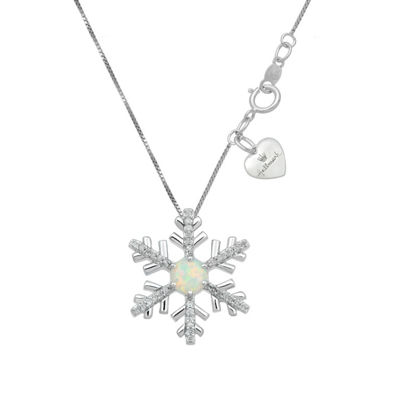 Hallmark Diamonds Womens Lab Created White Opal Sterling Silver Snowflake Pendant Necklace