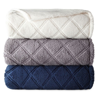 North Pole Trading Co Quilted Sherpa Blanket