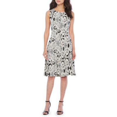 Studio 1 Sleeveless Floral Puff Print Fit & Flare Dress