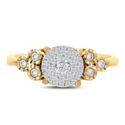 Womens 1/4 CT. T.W. Genuine White Diamond 14K Gold Engagement Ring